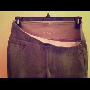 Spanx Wax Denim Jeans Size Large Pewter Grey